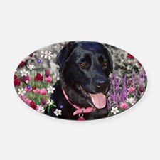 Abby the Black Lab in Flowers Oval Car Magnet