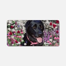 Abby the Black Lab in Flowe Aluminum License Plate