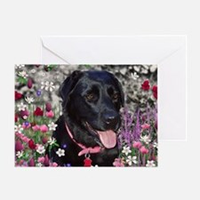 Abby the Black Lab in Flowers Greeting Card