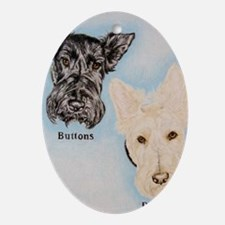 Buttons and Baylee Oval Ornament