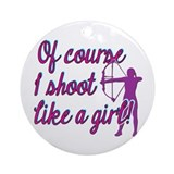 Archery girl Round Ornaments