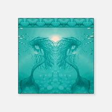 "aqua mermaid shower curtain Square Sticker 3"" x 3"""