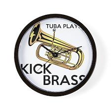 Tuba Players Kick Brass Wall Clock