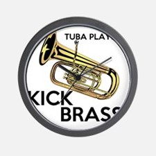 Tuba Players Kick Brass Wall Clock