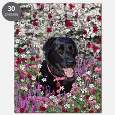 Abby the Black Lab in Flowers Puzzle