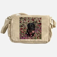 Abby the Black Lab in Flowers Messenger Bag