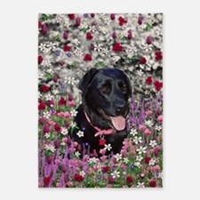 Abby the Black Lab in Flowers 5'x7'Area Rug