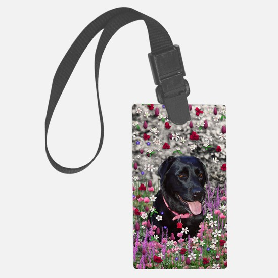 Abby the Black Lab in Flowers Luggage Tag