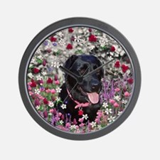 Abby the Black Lab in Flowers Wall Clock