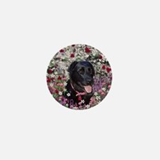 Abby the Black Lab in Flowers Mini Button