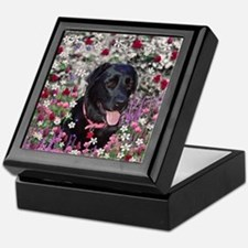 Abby the Black Lab in Flowers Keepsake Box