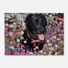 Abby the Black Labrador in Flowers 5'x7'Area Rug