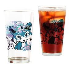 Blue Pembroke Welsh Corgi Manga Drinking Glass