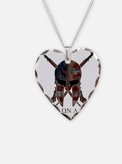 Molon Labe Crossed Guns Necklace Heart Charm
