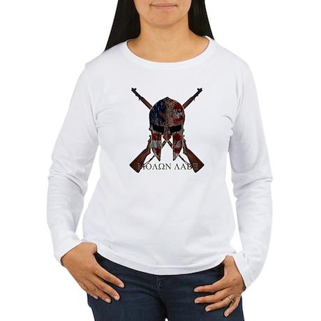 Molon Labe Crossed Gun Women's Long Sleeve T-Shirt