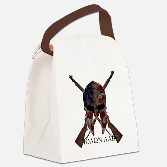 Molon Labe Crossed Guns Canvas Lunch Bag
