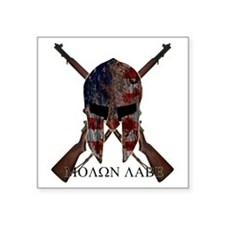 "Molon Labe Crossed Guns Square Sticker 3"" x 3"""