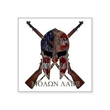 """Molon Labe Crossed Guns Square Sticker 3"""" x 3"""""""