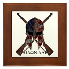 Molon Labe Crossed Guns Framed Tile