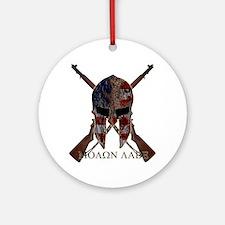 Molon Labe Crossed Guns Round Ornament