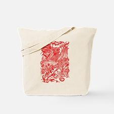Dragon Meeting Red Tote Bag