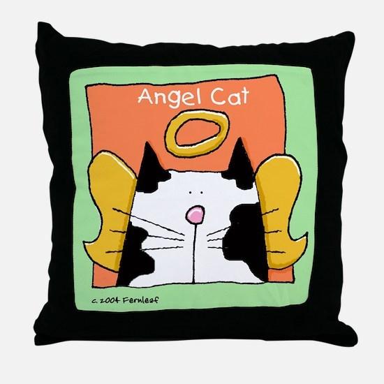 Black White Cat Angel Throw Pillow