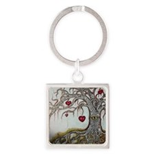 Family Tree Square Keychain