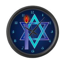 Sharp Star Of David - Light Large Wall Clock