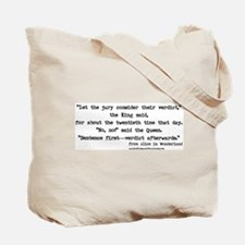 """Verdict"" Quote on BACK - Tote Bag"