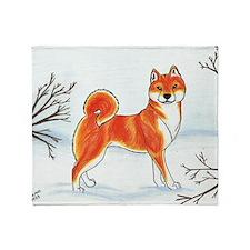 Shiba In The Snow Throw Blanket