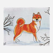 Shiba In The Snow Throw Blanket