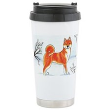 Shiba In The Snow Travel Mug