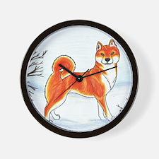 Shiba In The Snow Wall Clock