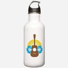 Ukulele Hibiscus Water Bottle
