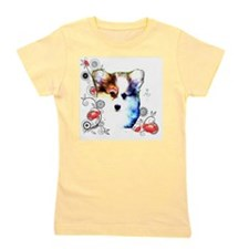 Pembroke Welsh Corgi Puppy with Floral Girl's Tee