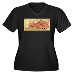 Flat Kentucky Women's Plus Size V-Neck Dark T-Shir