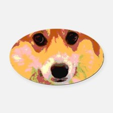 Pembroke Welsh Corgi Reflective Oval Car Magnet