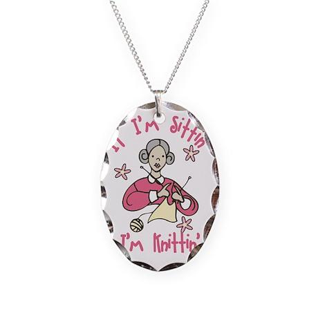 I'm Knittin' Necklace Oval Charm