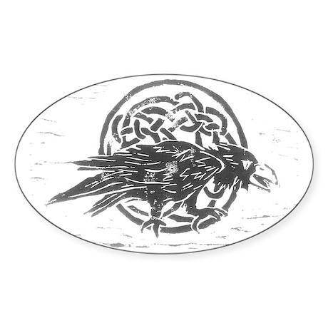 Celtic Raven Oval Sticker