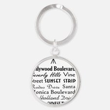 Hollywood Streets Round Keychain