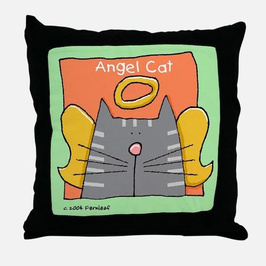 Gray Tabby Cat Angel Throw Pillow