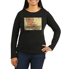 Flat Louisiana Women's Long Sleeve Dark T-Shirt