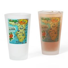 Vintage Florida Sun Map Drinking Glass