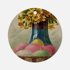 Vintage Easter Basket with Colored  Round Ornament