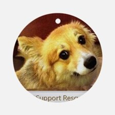 I Support Rescue Corgi Round Ornament