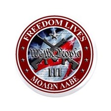 """Three Percent - We The People (Flag) 3.5"""" Button"""