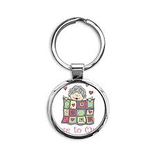 Love to Quilt Round Keychain