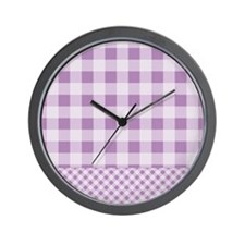 Lilac Violet Gingham Wall Clock