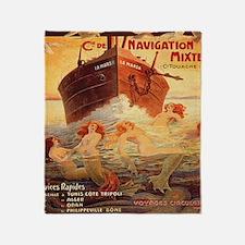 Vintage Mermaids Boat Throw Blanket