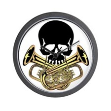 Skull with Tuba Crossbones Wall Clock